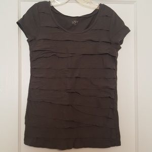 3 for $10 Gray ruffle front shirt
